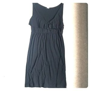 J. Crew Black Cotton Drape Front Dress M